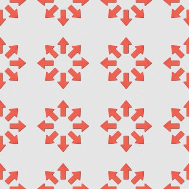 Collage of red pointers in circles on grey background, seamless background pattern stock vector