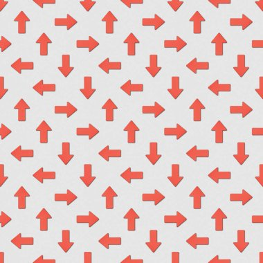 Collage of red arrows in different directions on grey background, seamless background pattern stock vector