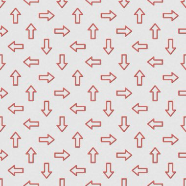 Collage of seamless background pattern with red pointers in different directions on grey background stock vector
