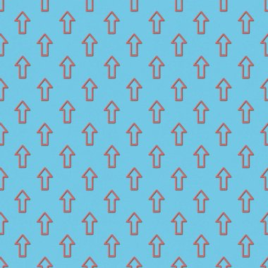 Collage of seamless background pattern with red pointers on blue background stock vector