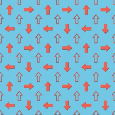 Collage of different red pointers on blue background, seamless background pattern stock vector