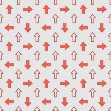 Collage of different red pointers on grey background, seamless background pattern stock vector