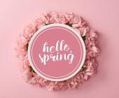 vista superiore di piastra con Ciao primavera lettering e corona di garofani rosa su sfondo rosa