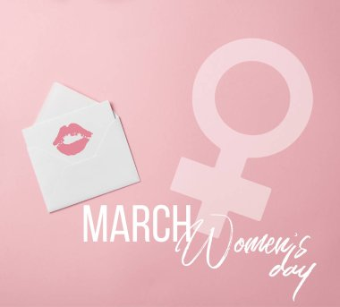 Top view of greeting card with lips mark in white envelope with womens day and female sign illustration stock vector