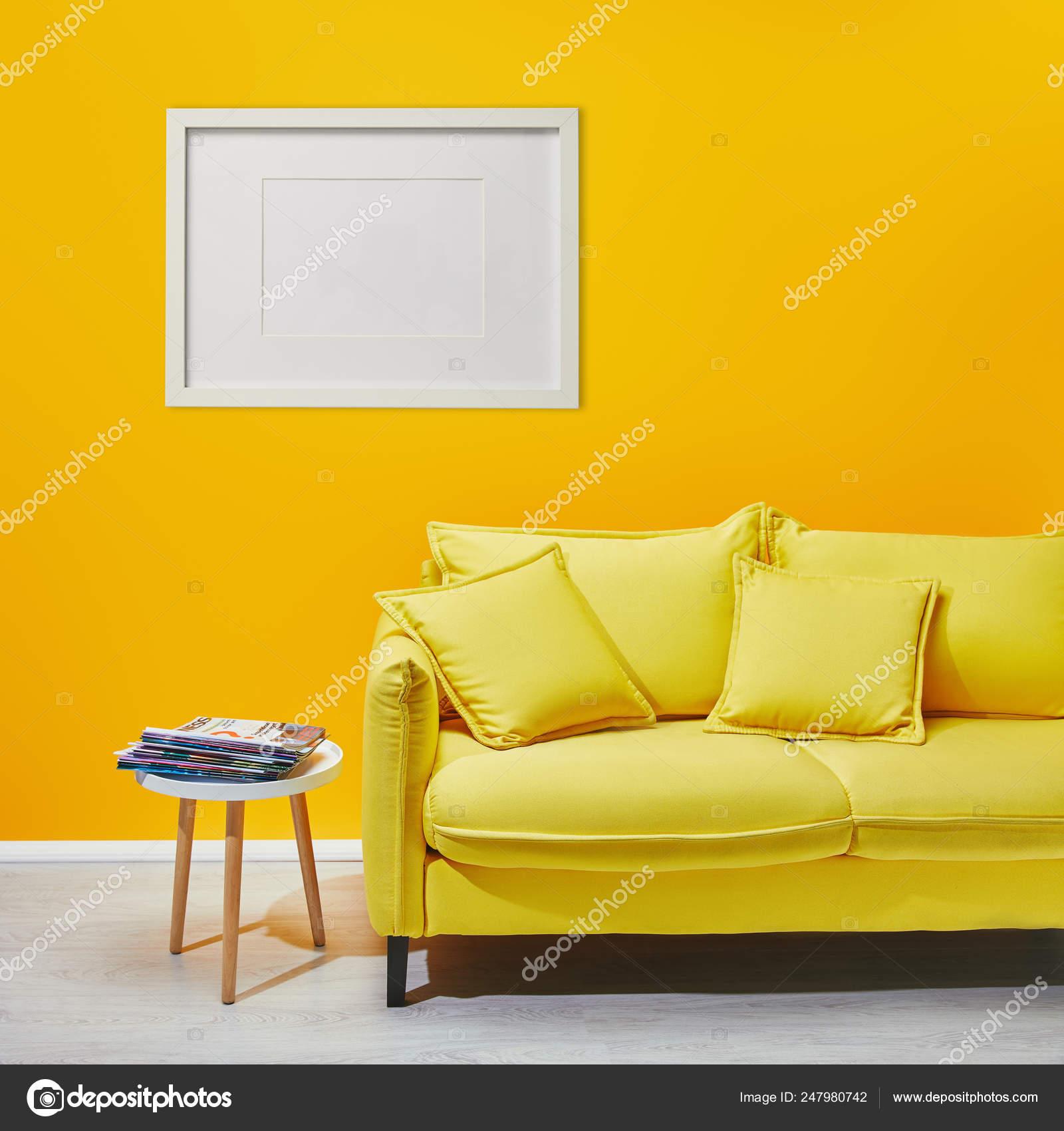 Coffee Table Standing Modern Yellow Sofa White Frame Hanging ...