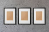 blank decorative square frames on grey background
