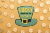 pohled zlatých mincí se znakem dolaru poblíž zelená kniha klobouk s štěstí shora si nápisy na oranžové pozadí