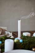 Photo selective focus of candle and plates near moss on wooden table at home