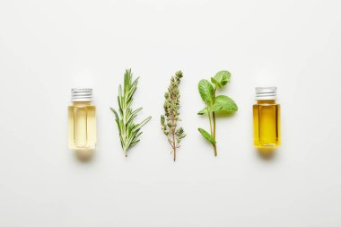 Top view of essential oil, rosemary, thyme and mint on white background
