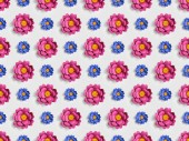 Fotografie pink and blue paper flowers on grey, seamless background pattern