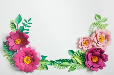Top view of different paper flowers and green plants with leaves on grey background stock vector