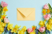 top view of pink tulips, yellow narcissus, blue hyacinths, and yellow envelope on blue