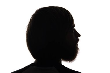 Silhouette of man with beard looking away isolated on white stock vector