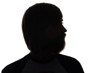Silhouette of man with beard isolated on white stock vector