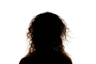 Silhouette of woman with curly hair isolated on white stock vector