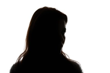 Silhouette of woman looking away isolated on white stock vector