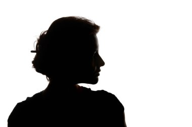Silhouette of pensive woman looking away isolated on white stock vector