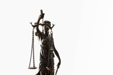bronze figurine with scales of justice isolated on white