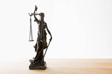 bronze statuette with scales of justice on wooden surface isolated on white with copy space