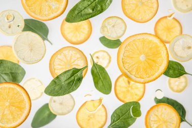 Fresh orange and lemon slices with green spinach leaves on grey background stock vector