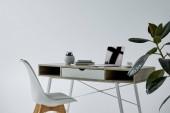 stůl s notebookem, knihami, květináčem a bílou židlí na šedé pozadí