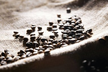 Selective focus of roasted coffee grains on sackcloth texture