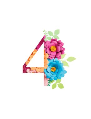 Number 4 with paper cut bright flowers and leaves isolated on white stock vector