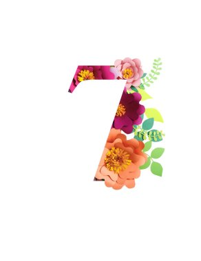 Number 7 with paper cut bright flowers and leaves isolated on white stock vector