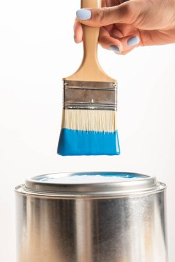 Partial view of woman holding brush with blue paint isolated on white stock vector
