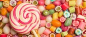 Photo panoramic shot of bright round lollipop on wooden stick near fruit caramel candies on pink background