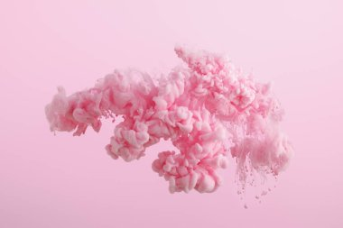 Pink paint splash in water isolated on pink stock vector
