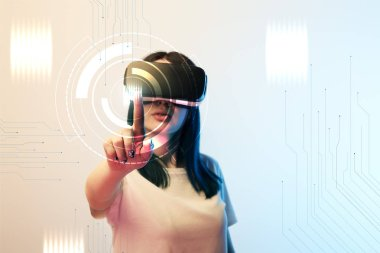 Young woman in vr headset pointing with finger at network illustration on beige and blue background stock vector