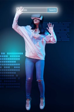 Young excited woman in virtual reality headset levitating in air among glowing data illustration on dark background with search bar above head stock vector