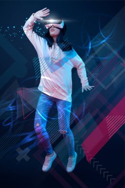 young woman in virtual reality headset levitating in air among glowing data illustration on dark background