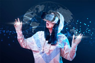 Shocked young woman in vr headset gesturing near glowing globe illustration on dark background stock vector