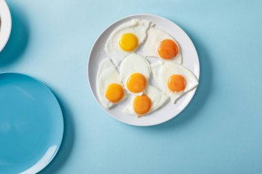 Top view of fried eggs on white plate on blue background stock vector
