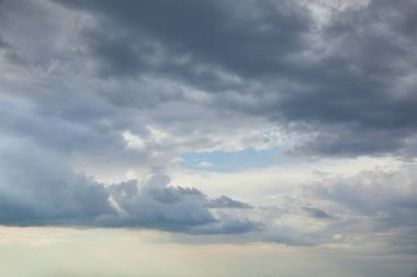 Blue sky with overcast clouds and copy space