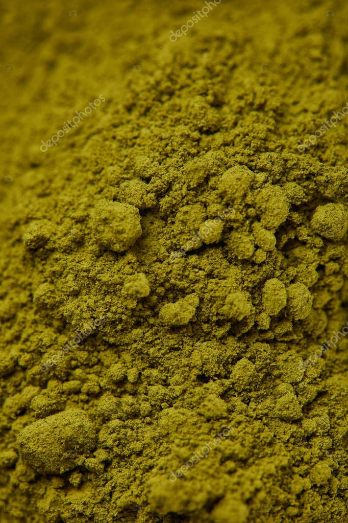 selective focus of dark green matcha powder