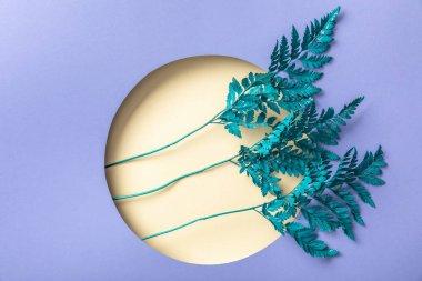 Decorative fern leaves in beige hole on purple paper stock vector