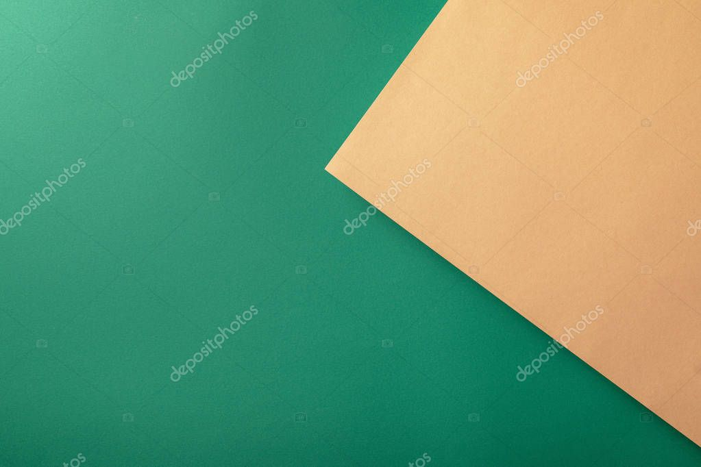 Creative background with green and beige paper stock vector