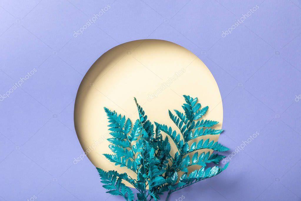 Blue decorative fern leaves near beige hole on purple paper stock vector