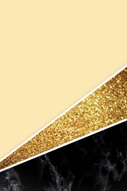 Geometric background with golden glitter, black marble and light yellow color stock vector