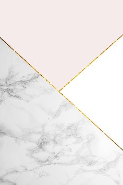 geometric background with marble, white and light pink colors