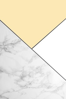 Geometric background with marble, white and light yellow colors stock vector