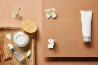 top view of open jar with cream, cosmetic glass bottle with serum on wooden tray, cream tube and scattered jasmine flowers on brown
