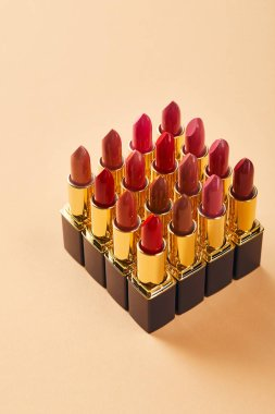 Close up of various lipsticks on beige stock vector