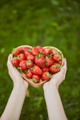 cropped view of woman holding heart shaped plate with strawberries