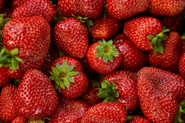 top view of background with red fresh strawberries