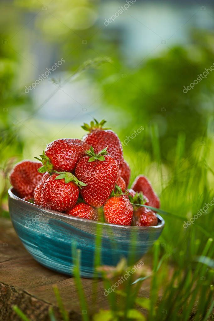 raw fresh strawberries in bowl on stump