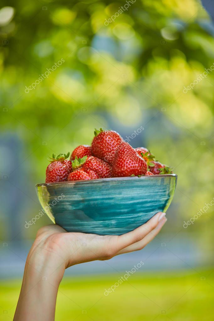 cropped view of woman holding bowl with fresh strawberries